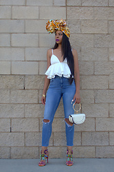"""Slim"" Shay D - Grass Fields Head Wrap, Asos Jeans - Head wrapped"