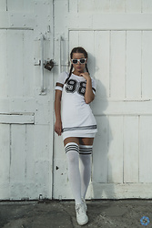 Aevoulette Benssalconia - New Yorker Sunglasses, Made In China White Dress, Made In China Socks Over Knee, Nike Sneakers - Summer In White