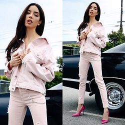 Claudia Salinas - Zara Pink Denim Jacket, La Edge Wallet Chain, Zara Pink Denim Jeans, Aldo Satin Pumps - 6.28.17