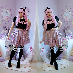 PastelKawaii Barbie - Minga London Lolita Crop Top, Ebay Plaid Pink Skirt, Ebay Pink Wig, Handmade Spiked Bow Headband, Handmade White Collar, Ebay Pink Garter, Spencers Striped Socks, Ebay Black Platforms, Black Out Doll Baby Earrings - ★☽Goth School Girl☾ ★