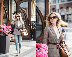 Margarita Maslova - Michael Kors Bag, Sam Edelman Nude Heels, Mango Jacket, Zara Jeans, Massimo Dutti Belt - Business casual