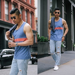 Leo Chan - Abercrombie & Fitch Colorblock Tank, Abercrombie & Fitch Ripped Skinny Jeans, Abercrombie & Fitch Baseball Button Up, Converse Jack Purcell Sneakers - Casual Summer