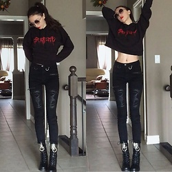 Eva Hazen - Killstar Grave Slave Pentagram Jeans, Current Mood O Ring Leather Boots, Aritzia Serpent Cropped Sweater - Dark Serpent