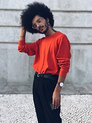 Marco Moura - Zara Pants, H&M Sweater, Asos Sunglasses, Zara Wallet, Asos Watch - Orange lover