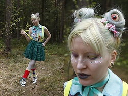Lindwormmm - Candy Eyeballs, Ribbon, Eyeball Print Shirt, Neon Suspenders, Black Milk Clothing Dragon Scale Skirt, White Tights, Jeremy Scott Adidas Sneakers - Eyeballs and Rainbows