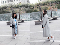 Vivi Valenzuela - She In Grey Long Coat, She In Striped Shirt Dress - LONG LENGHTS