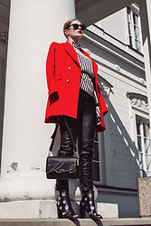 Wiktoria Celmer - Zara Red Jacket, Zara Striped Blouse, Karl Lagerfeld Bag - PERFECT RED JACKET