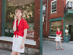 Gabrielle Lacasse - Aritzia Red Shirt, Bon Look Sunglasses, Club Monaco Red Pumps - Red and White for Canada 150th Anniversary