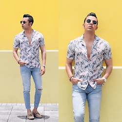 Franko Dean - Zara Silk Shirt, Forever 21 Jeans, Aldo Loafers, Ray Ban Round Sunglasses - Summer