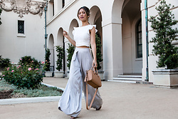 Jessi Malay - J.O.A. White Eyelet Crop Top, Givenchy Mini Antigona Tote, Blesse'd Are The Meek Wide Grey Satin Pants - Easy Summer Look