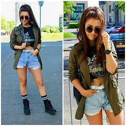 Terri L - Missguided Jacket, Miss Pap Tshirt, Levi's® Shorts, Timberland Boots - FESTIVAL READY