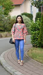 Raspberry Jam - Primark Tropical Print Top, Tally Weijl Jeans, H&M Earrings, Michael Kors Studded Bag, Sds Collection Studded Sandals - Tropical Print Top