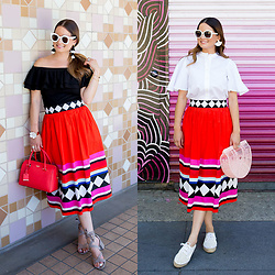 Jenn Lake - Kate Spade Geo Border Poplin Skirt, Kate Spade Flutter Sleeve Poplin Shirt, Kate Spade Cameron Street Large Lane Bag, Cult Gaia Pink Ark Bag, Loeffler Randall Espadrille Sneakers, Sam Edelman Sheri Sandals, Kate Spade Krystalyn Sunglasses, Celine Marta Sunglasses, Kate Spade Fringe Earrings, Baublebar Fringe Earrings, Kate Spade Flower Cuff - Kate Spade Geo Border Poplin Skirt