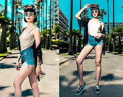 Samantha Mariko - Zerouv Cap, Zerouv Sunglasses, The Bikini Lab Bathing Suit, Levi's® Shorts, Vans Shoes - Hello July