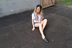 Sandy Y - Yellow Sunglasses, Forever 21 Too Bad So Sad Tee, Forever 21 Multi Button Denim Shorts, Forever 21 Loafer Slides - Hello, Yellow