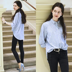 Claire H - H&M Shirt, Zara Black Pants, Manolo Blahnik Hangisi Heels - Basic striped shirt
