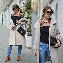 Monika Tremski - Shein T Shirt, Zaful Coat, Zara Jeans - Black embridered rose t-shirt