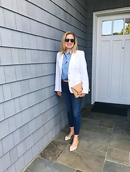 Jennifer Eustice - J. Crew Ikat Perfect Shirt, J. Crew Piper Sunglasses, J. Crew Factory Cork Clutch, J. Crew Lookout Jeans - Cork and Ikat