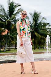 Meagan Brandon - Tropical Print Scarf, Topshop Camisole, Culottes (Similar), Saint Laurent Monogram Chain Wallet, Gucci Sandals - Paradise Pop