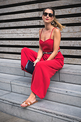 Stephanie Van Klev - Claudie Pierlot Jumpsuit, Hermès Flats, Salvatore Ferragamo Clutch, Abercrombie & Fitch Earrings, Ray Ban Sunnies - Red For Summer