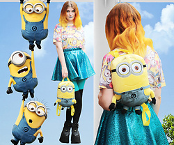 Alison Videoland - Primark Minion T Shirt, Buffalo Black Tower, Indyanna Blue Skirt - Despicable me