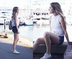 Kassy D - Aphorism Backpack, Dynamite High Rise Denim Shorts, Converse Shoes, Honey Punch Crochet Top - Along the Seawall