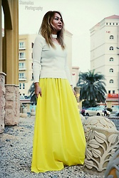 ALY - Zaful Ribbed Cut Out Choker Jumper, Yellow High Waisted Maxi Skirt - Unravel Me
