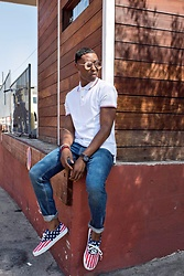 Willie Sparks - Zerouv Sunglasses, Old Navy Polo, Coach Watch, Old Navy Jeans, Old Navy Sneakers - Happy 4th of July