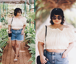 Ragini R - Handmade Broderie Anglaise Off Shoulder Crop Top, Asos Denim Mom Shorts, Birkenstock Madrid Sliders, 7x Oversized Round Sunglasses, Boohoo Black Circle Bag - How to wear an off shoulder crop top