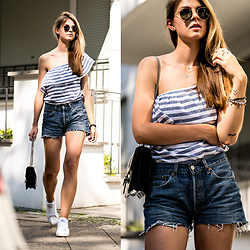 Jacky - Ray Ban Sunglasses, Levi's® Shorts, Gucci Bag, Reebok Sneakers - Off Shoulder to One Shoulder