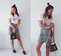 Magna G. - Www.Lovebeingpetite.Com - Fab tee and Gingham skirt