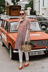 Andreea Birsan - Striped Midi Dress, White Trousers, Straw Basket Bag, Red Cat Eye Sunglasses, Earrings, Red Suede Slingbacks - Peonies in my bag