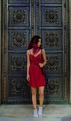 Maria P - Goldie London Red Suede Dress, Skechers White Sneakers - Put my little red party dress on
