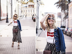 Margarita Maslova - Levi's® Levis Top, Zara Stryped Culottes, Rebecca Minkoff Bag - Back to the 90's