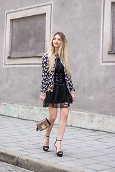 Franziska Elea - Rich&Royal Bomber, Liu Jo Dress, Furla Bag, Zara Belt, Buffalo Heels - Beetle Bomber & Lace Dress