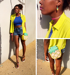 Yara Snow'z - Primark Pineapple Bag, Forever 21 Rainbow Choker, Pineapple Earing, Zara Denim Shorts, New Yorker Blue Crop Top, Zara Fluorescent Shirt - Summer Vibes ~