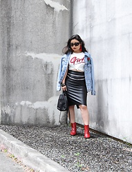 "Kristen Tanabe - Topshop Denim Jacket, Forever 21 ""Girls"" Tee, Bariii Faux Leather Skirt, Zara Patent Leather Boots, Baublebar Red Earrings, Prada Baroque Sunnies - Girl Power"