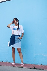 Bárbara Marques - Pull & Bear T Shirt, Stradivarius Suspenders, Stradivarius Skirt, Melissa Slip Ons, Michael Kors Bag, Ray Ban Sunglasses, H&M Earrings - MENORCA GUIDE
