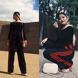 Nabina Magar - Adidas Track Pants, Coach Bag, Charlotte Russe Heels, Simple Retro Off Shoulder Top, H&M Choker - Urban chic