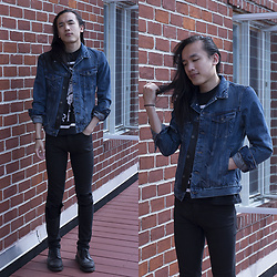 Xanthium James - The Kooples Black Trim Denim Jacket, American Apparel Oathbreaker Tee, Cheap Monday New Black Ripped, Dr. Martens Albany - Dusk