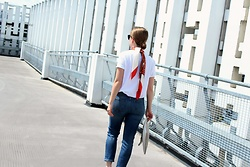 Angharad Jones - Hermes Scarf, Barbour T Shirt, Weekday Jeans - Elevated Basics