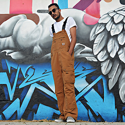 Mohamed Samaras - Carhartt Overalls, A.P.C. T Shirt, Vans Checkerboard, Ray Ban Clubmaster - Working progress