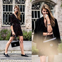 Jacky - Mango Dress, Gucci Bag - Black Dress with Flower Print