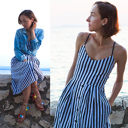 Iva K - Mango Dress - Midi striped dress