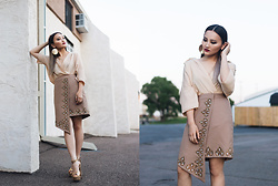 Pxkin - Xee Vang Collection Asymmetrical Wrap Skirt, Soles Attractions Metallic Gold Pumps - Summer Glam in Khaki