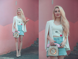 ♡Anita Kurkach♡ - Shein White Blazer, Shein White Top, Shein Denim Skirt, Shein Bag, Asos Shoes - WHITE LOOKBOOK!