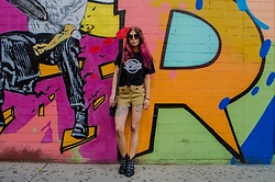 Maria P - Black Strokes T Shirt, Topshop Mustard & Black Striped Shorts, Aliexpress Studded Ankle Boots - On Ludlow Street