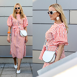Mad Cat Fashion P. - Zara Stripy Dress, Zara Palm Earrings, Sunglasses, Zara Pointed Mules, Braclet, Zara Bag - MyLook #140