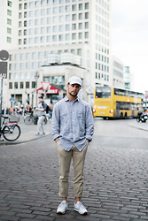 Kevin Elezaj - Reebok Sneakers, Gap Trousers, Gap Shirt, Farah Cap - Bright