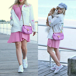 Scarlett Vargas - Asos Jacket, Boohoo Knit Dress, Adidas Sneakers, Gucci Bag - Pink state of mind